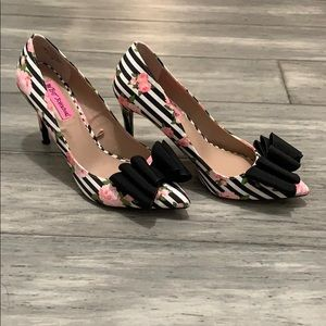 Betsey Johnson striped and floral heels